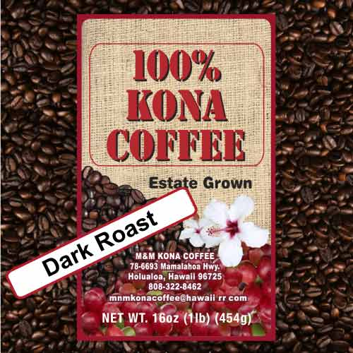 dark roast m m coffee gourmet estate 100 kona coffee. Black Bedroom Furniture Sets. Home Design Ideas